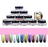 Covermason 12 Farben Nagel Glitzerpuder Glitzer Pulver Leuchtenden Nagel Spiegel Pulver Make up Kunst-DIY Chrome