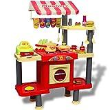 Festnight Große Kinderküche Spielküche Kunststoff Spielzeugküche für Kinder ab 3 Jahren