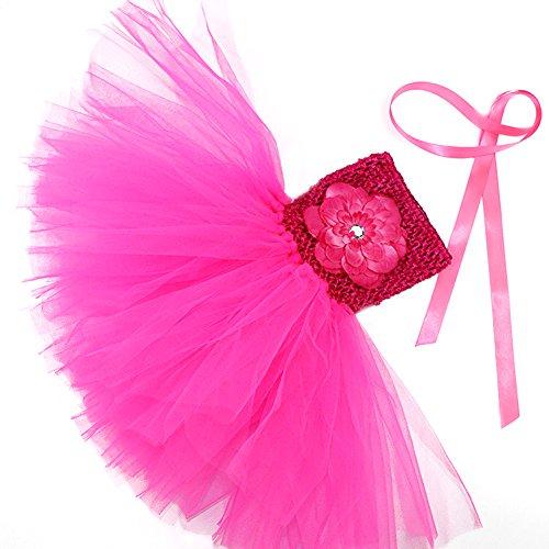 Honeystore Mädchen Spitze Prinzessin Rock Sommer Blumen Kleider für Baby Kleinkinder Kinder 0-2 Jahre alt Medium Fuchsie mit (Kleinkind Cinderella Ballerina Kostüme)