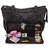 Bolsa de tejer con accesorios de costura, manualidades y caja organizadora para almacenar agujas
