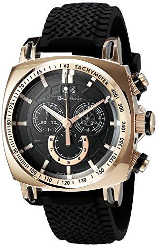 Ritmo Mundo Men's 2221/8 Rose Gold Black Racer Analog Display Swiss Quartz Black Watch