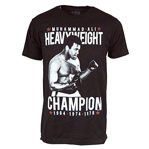 Männer Offizielle Muhammad Ali Cassius Clay Dreimal Welt Schwergewichts Vorkämpfer T Shirt Schwarz Klein – Brust 34-36 Zoll (86.5-91.5 cm) Schwarz