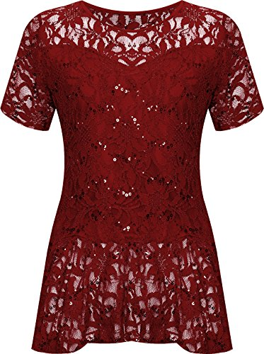 WearAll Plus Size Womens Lace Sequin Ladies Short Sleeve Peplum Frill Top - Wine - 22-24
