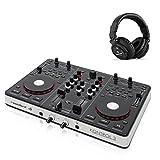 resident dj Kontrol 3 USB-MIDI DJ-Controller Soundkarte mit DJ Kopfhörer inkl. Software Virtual DJ LE (Needle-Drop-Funktion, Body mit Metallrahmen, schnelles Dateimanagement, gerillte 8,5cm Jogwheels - Scratching-Modus, geeignet für PC und MAC)
