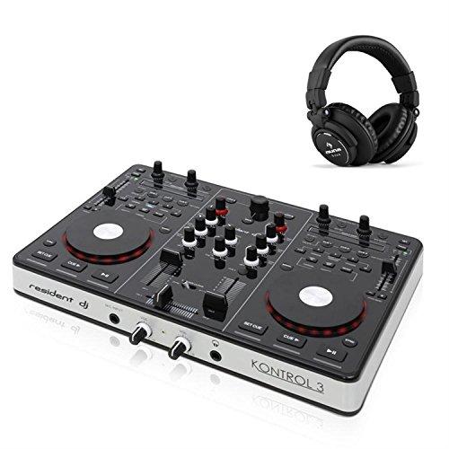 Resident dj Kontrol 3 Controlador DJ USB-MIDI tarjeta sonido + auriculares (salida RCA, XLR, controles retroiluminados, apto PC y Mac)
