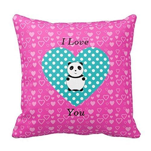 HOTNING Housses de Coussin, Throw Pillow Covers, Throw Pillow Case, Cap I Love You Panda Pink Hearts Throw Pillow Case 18'x 18'
