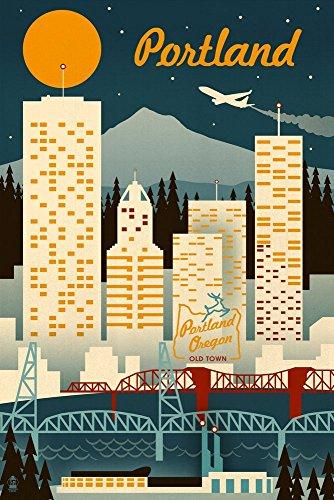 Portland, Oregon-Retro Skyline, Papier, multi, 9 x 12 Art Print -