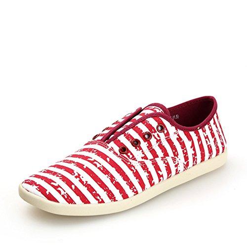 Primavera scarpe casual a righe/Scarpe di tela piatta pedale luce Rosso