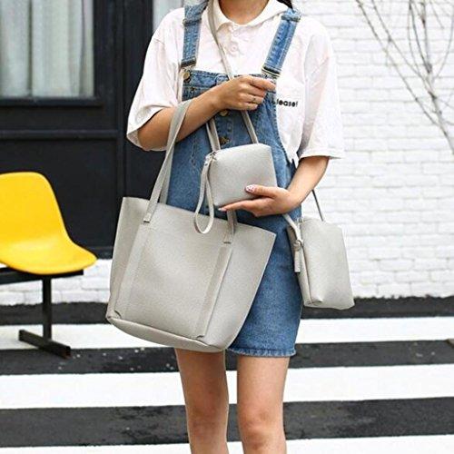 Livecity 4pz/set donne in ecopelle croce corpo borsa a tracolla borsetta porta carte di credito frizione, Black, 3pcs Grey