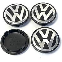 4 x Volkswagen 70 mm cromo negro logotipo insignia emblema rueda centro tapacubos tapas 7l6601149b VW Bora Amarok Caddy California CC Fox Gol G5 puntero ...