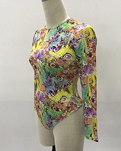 Body Donna Maniche Lunghe Comodo E Soffice Body T-Shirt Bodysuit Leotard Top Bodycon Rompers 12