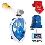Siliber New Full Face Snorkel Mask Boccaglio Free Easy Breathing con Anti Fog e Anti Leak Design per adulti e bambini. Custodia per smartphone impermeabile con regalo e borsa per attrezzi sportivi