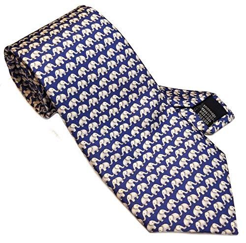 Ambition Menswear Krawatte mit Elefantenmuster, 100% Seide, handgefertigt in Italien, Blau/Weiß - Italien Seide Krawatte