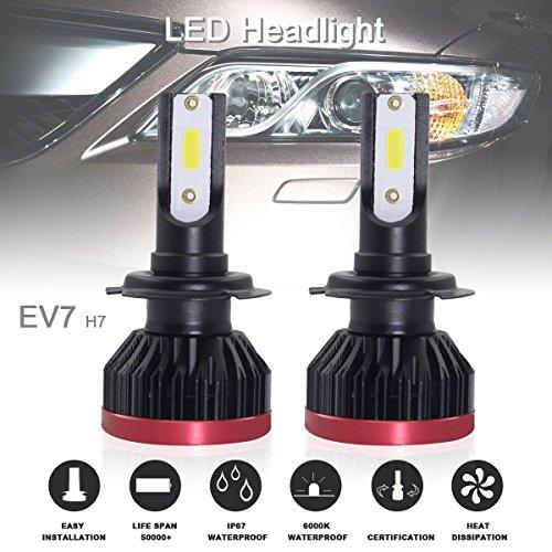 2 fari a COB LED di ottima qualità, per automobili, con miniattacco H7 e kit di conversione, ad alta e bassa luminosità, 120W, 20.000 lm, 6.500K
