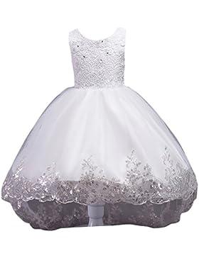 Ragazze Abito da Sposa Abito Elegante da Bambina Tutu Vestito per Matrimoni Feste Cocktail Bianca 7-8 anni Bianca...