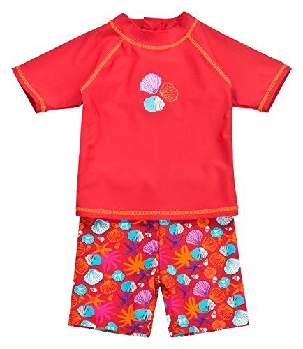 Landora®: Baby- / Kleinkinder-Badebekleidung 2er Set mit UV-Schutz 50+ und Oeko-Tex 100 Zertifizierung in rot; Größe 110/116
