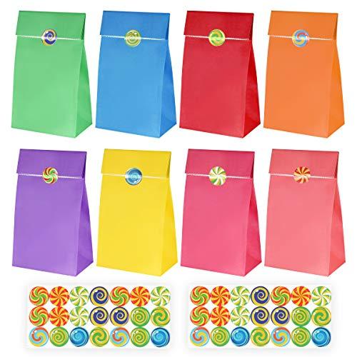 henktüten Partytüten Papier Candy Tüten Süssigkeiten Beutel 40 Stück mit 100 Aufkleber für Ihre Geburtstagsfeier Babyparty Hochzeit ()
