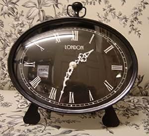 Noir et blanc sur pied ou mural Horloge de cheminée–Chevalet Amovible pour suspension murale Gousset style