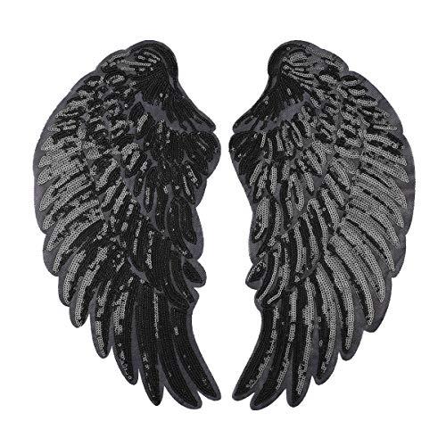 dPois Engel Flügel Aufnäher Patch Sticker Bügeln Stickerei Pailletten Applikation Engel Flügel Muster für T-Shirt Jeans Kleidung DIY Kleidung Patches Aufkleber Schwarz B One Size