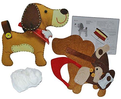 Unbekannt Bastelset: Plüschtier - Filz Hund - Tier zum Sticken, Nähen per Hand Komplett Set filzen - Filzset zum Basteln Handarbeiten mit Zubehör - Filztiere Hunde -
