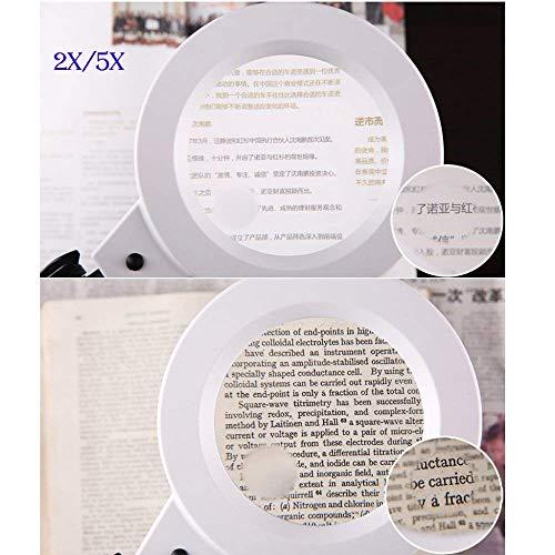 Baixx Beleuchtete Lupen Desktop mit LED-Licht 2,5 X 1,5 X 5 X Lupe Dimmbar Alter Mann Lesen Platine Reparatur Uhr Mobile Reparatur Vergrößerungsspiegel,Weiß,1,5 * UND5 *