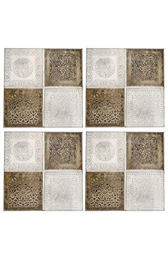 4er Set Orientalisches Wandbild Wanddeko Sahra-2-30cm aus Metall | Orientalische Vintage Wanddekoration Für Wohnzimmer, Schlafzimmer oder Küche | marokkanisches Fliesen Design als Dekoration