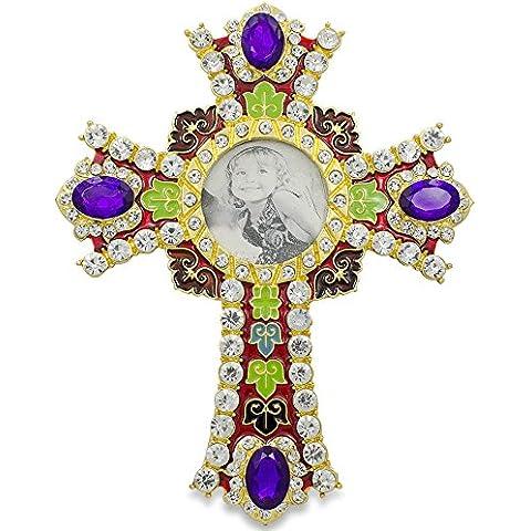 Cornice per foto in smalto religioso Croce con cristalli