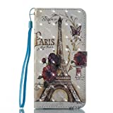Gelusuk Samsung Galaxy S7 Edge Leather Case,Ultra Slim PU Leather Bookstyle Magnet Flip Cover Wallet Case with Integrated Card&Cash Slots and Stand Function Phone Case Protective Cover for Samsung Galaxy S7 Edge-Eiffel Tower