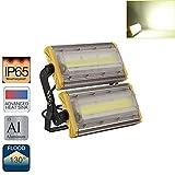 LED Foco Proyector Flexible, Luz Fría de 4500k~6000k, Floodlight Resistente al Agua IP65, 100w, 8000lm