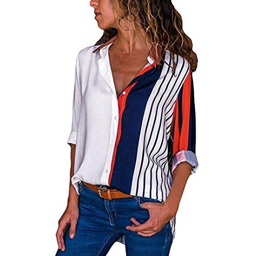 UFACE Damen Frauen-Farbe Striped Long-Sleeve-Knopf-Hemd-Oberseiten-Frauen-beiläufiger Langer Hülsen-Farben-Block-Streifen-Knopf-T-Shirts Oberseiten-Bluse(Weiß,EU/46CN/L)