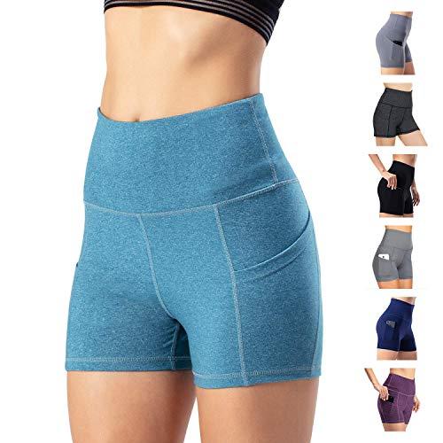 WateLves Damen Hohe Taille Yoga Sporthose Shorts Capri Fitness Dünne Hosen Schnell Trocknende Trainieren Mit Taschen Elastische Tanzen Workout Leggings(Hellblau, XL) - Klettern Nylon Shorts
