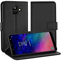 Simpeak Ersatz Samsung A6 2018 Hülle Schwarz [5,6 Zoll], Case Cover Ersatz Samsung Galaxy A6 2018 flipcase [Kartensteckplätze] [Stand Feature] [Magnetic Closure Snap]