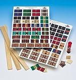 Bogen mit Bucheinbänden zur Herstellung von 84 Büchern für das Puppenhaus