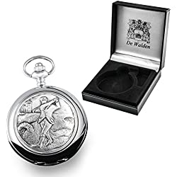 80th Birthday Gift, Engraved Mother of Pearl Pocket Watch with Pewter Golfer Case in Gift Box