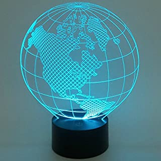 Alisabler Optical Illusion 3D Dice Lighting,3D Globe LED Lamp - Produces Unique Lighting Effects and 3D visualization - Amazing Optical Illusion