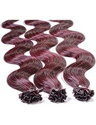 Just Beautiful Hair 200 x Bonding Extensions aus Premium-Echthaar, 60cm, 1g Strähnen, gewellt - Farbe 99j burgundy