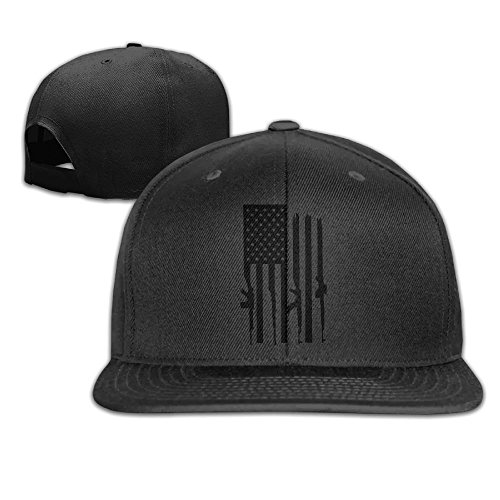 American Gun Flag Unisex Causal Fitted Flat Bill Boarder Cap For Men and Women Black (Flag T-shirt American Fitted)