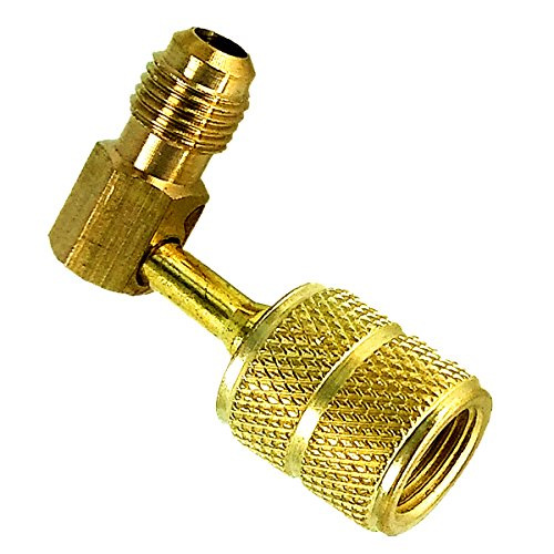 Mini Split System charging vacuum port adapter, Converts new R410a style 5/16 SAE service ports to accept older 1/4 SAE gauge hoses. - Service-port-adapter