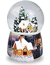 Navidad casa en la nieve bola de cristal caja de música giratorio automático copo de nieve