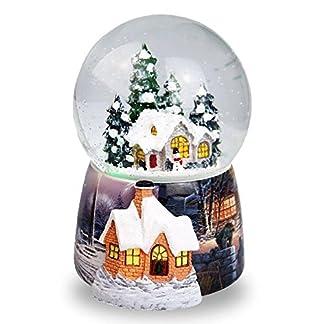 Navidad casa en la nieve bola de cristal caja de música giratorio automático copo de nieve caja de música de Navidad decoración para el hogar Navidad regalos de cumpleaños para niños y niñas