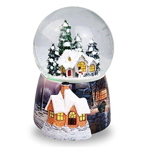 Navidad casa en la nieve bola de cristal caja de música giratorio aut
