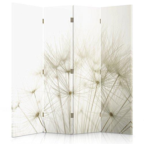Feeby Frames. Raumteiler, Gedruckten auf Canvas, Leinwand Wandschirme, dekorative Trennwand, Paravent beidseitig, 4 teilig (145x180 cm), LÖWENZAHN, Natur, Pflanzen, WEIß
