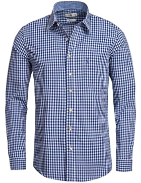 Almsach Trachtenhemd Slimline Wastl in Blau INKL. Volksfestfinder