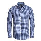 Almsach Herren Trachtenhemd Slim-Fit Slim-Line Trachten-Mode traditionell-kariert s-XXL viele Farben, Größe:M, Farbe:Blau