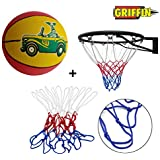 GRIFFIN Basket Ball NET with Ring and Basketball Size 3 for Home Use
