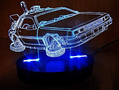 Kreative LED Nachtlicht 3D USB Fernbedienung Farbwechsel Stereo Lampe zurück in die Zukunft Zeitmaschine Schlafzimmer Nacht Baby Schlaf Licht
