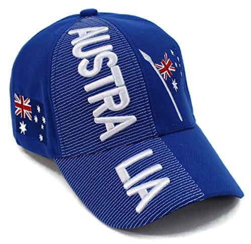 High End Hüte Nations of Asia und Pacific Hat Collection bestickt Verstellbare Baseball Cap, Australia Blue (Land Und Ihre Nationalen Kostüm)