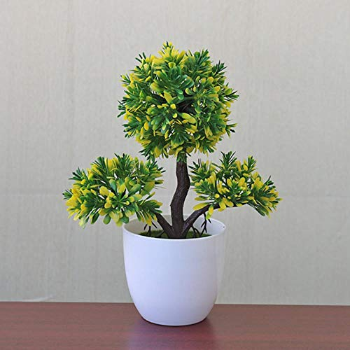 GHGYUF Garden Indoor Plastic Office Ball Pot Outdoor Home Decor Artificial Plant Ornament Decorative Party Tree Artificial Plants,Yellow -