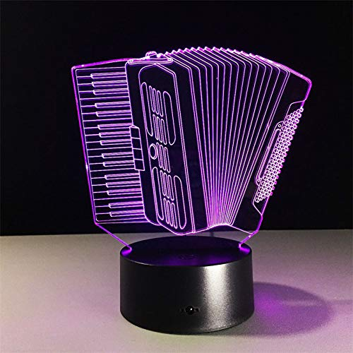 Led Night Lights 3D,Akkordeon 3D Lampe Bunte Touch Led Visuelles Licht Kreatives Akkordeon Modell 3D Schreibtischlampe Usb Batteriebetriebene Schlafzimmerlampe