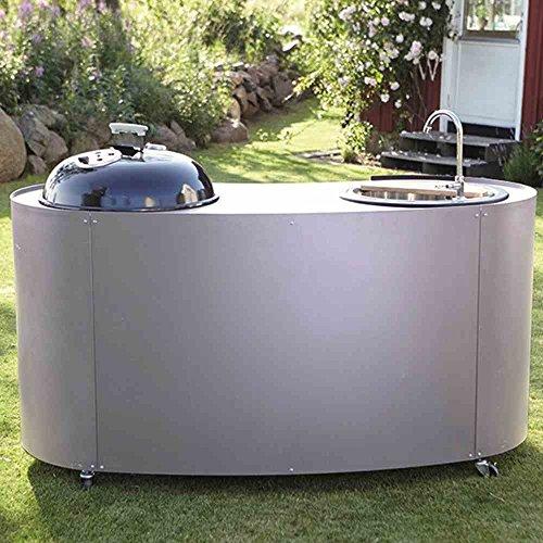 Lidab Grillgerät Twin Kitchen mit Kohlegrill, Waschbecken und Schneid Umrandung Edelstahlblech, Arbeitsfläche pulverbesc, silber